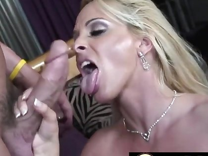 Horny blonde mommies sucking stiff and thick dicks to complete perfection