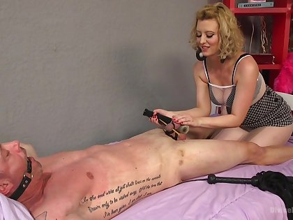 Brutal and painful dick torture session by blonde Cherry Torn