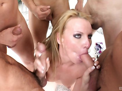 Group sex and facial for slutty Victoria Blond
