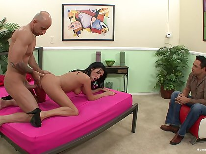 Sexy milf fucked in front of her hubby by a horny stud