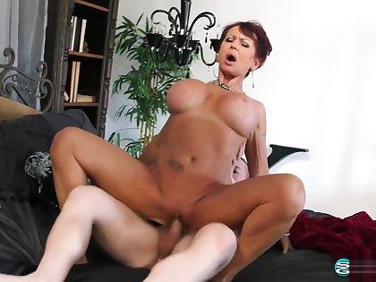 60 yr Old Redhead Cougar Gina Milano and Her Toyboy