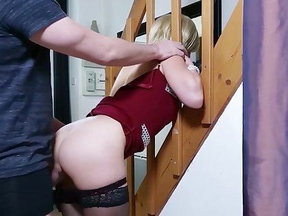 Step-mom stuck and get anal sex and cum in mouth by step-son