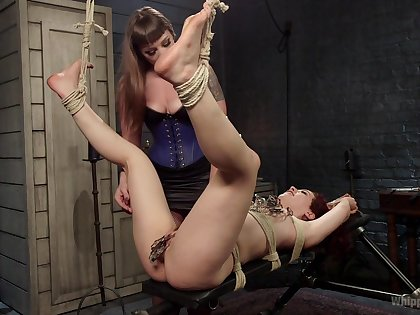 Bondage avant-garde during amateur femdom for two sluts