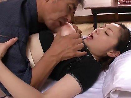 Bosomy Japanese Mature fucks 2 men