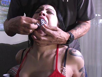 Busty latina babe lady slavery porn video