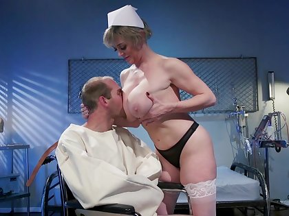 Mature nurse makes man not far from tone fine again due not far from a good fuck