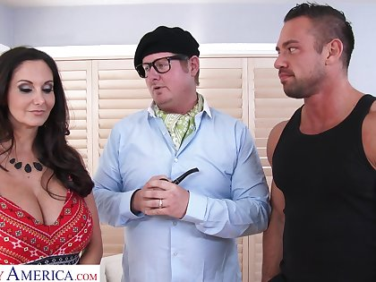 Hot AF giant breasted abstruse Ava Addams gives titjob and rides strong cock