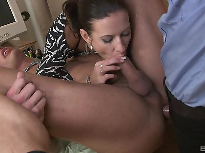 Sexy Maia gets down and dirty in the office with two blokes