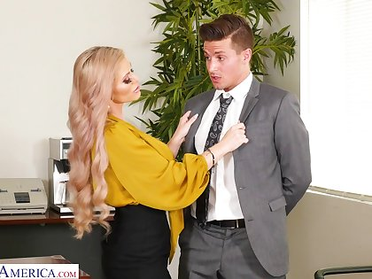 Super busty boss Casca Akashova is testing her new stuff member