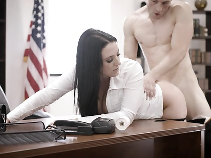 Super busty employee Angela White is fucked by unembellished constrained boss