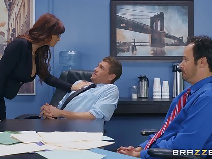 Flaming nude office MILF in crazy scenes of overtime firm sex