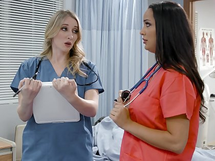 Coworkers Riley Reyes and Sofi Ryan braze up in a hospital bed