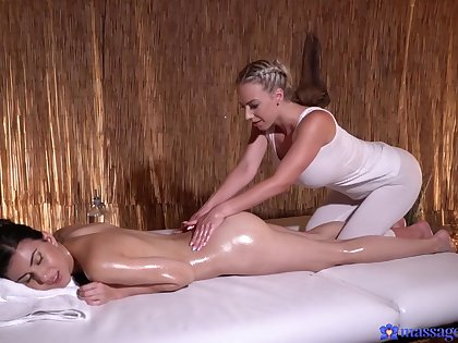 Aroused chicks combine the massage with softcore