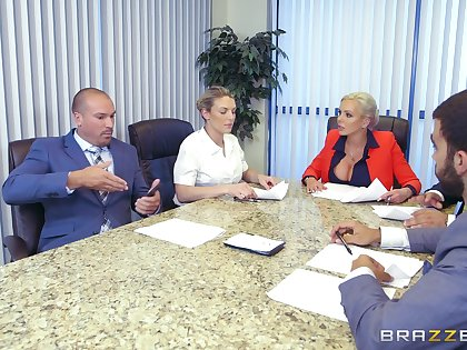 Cougar rides dick at the office during board meeting