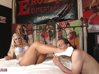 Beauteous porn doll strips naked to shag with an older man