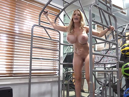 Busty mature with fit forms and magic muscles, insane solo toy porn