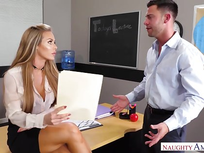 Sinful slutty office uncle Nicole Aniston rides strong cock wild