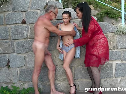 Perverted outdoors foursome between a younger and an elder couple