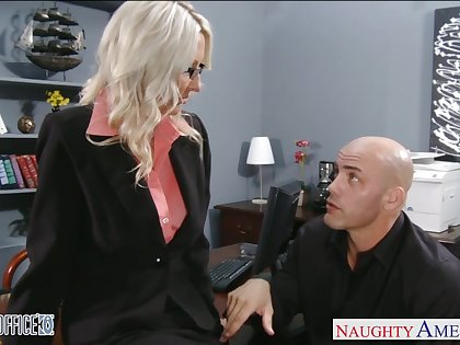 Really sexy MILF copier respecting glasses is ready be beneficial to wild doggy respecting the office