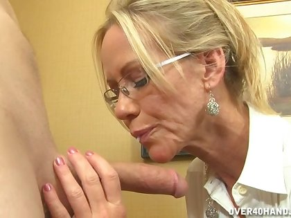 Video of naughty MILF Simone Sonay stroking and sucking his gumshoe