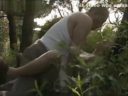 Japanese MILF fucking her secret lover outdoors